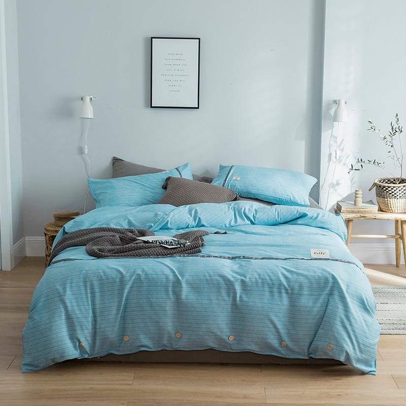 Estilo corto nórdico juegos de cama a rayas 3 4 Uds funda nórdica de algodón lavada funda de almohada sábana plana Individual Doble tamaño doble