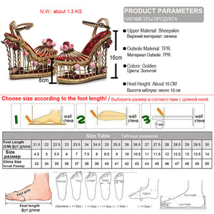 Image 5 - Phoentin gold flower sandals women super high heel 16cm platform wedding shoes ankle strap buckle luxury party shoes woman FT337