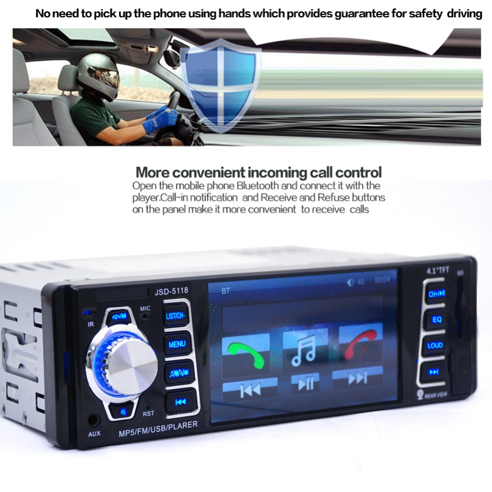 4.1 LCD Bluetooth Handsfree Car Radio Stereo USB/TF/Aux in MP3/MP5 Player Auto Remote Control 1din FM Automagnitol Autoradio