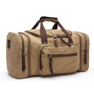 Vintage Canvas Travel Bag With Strips So