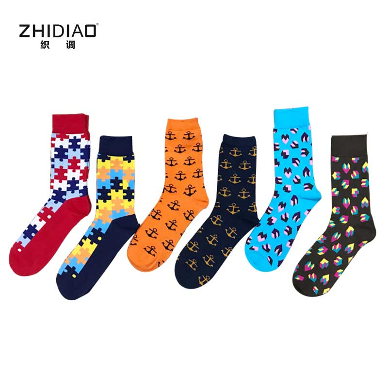Fashion happy men socks winter cotton high quality long socks men funny colorful personality puzzle chaussette homme mens socks
