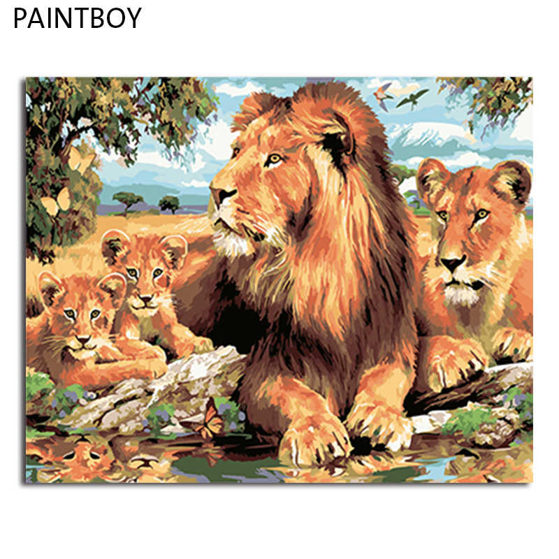 PAINTBOY Picture Modern Framed Pictures Painting By Numbers DIY Oil Painting On Canvas Home Decor Of Lion