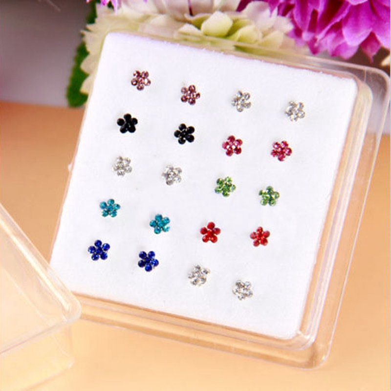 20 pcs AAA Zircon Plum Flower Nose Rings Stud Punk Body Piercing Jewelry Stainless Surgical Steel Nose Studs Pireced Jewellry