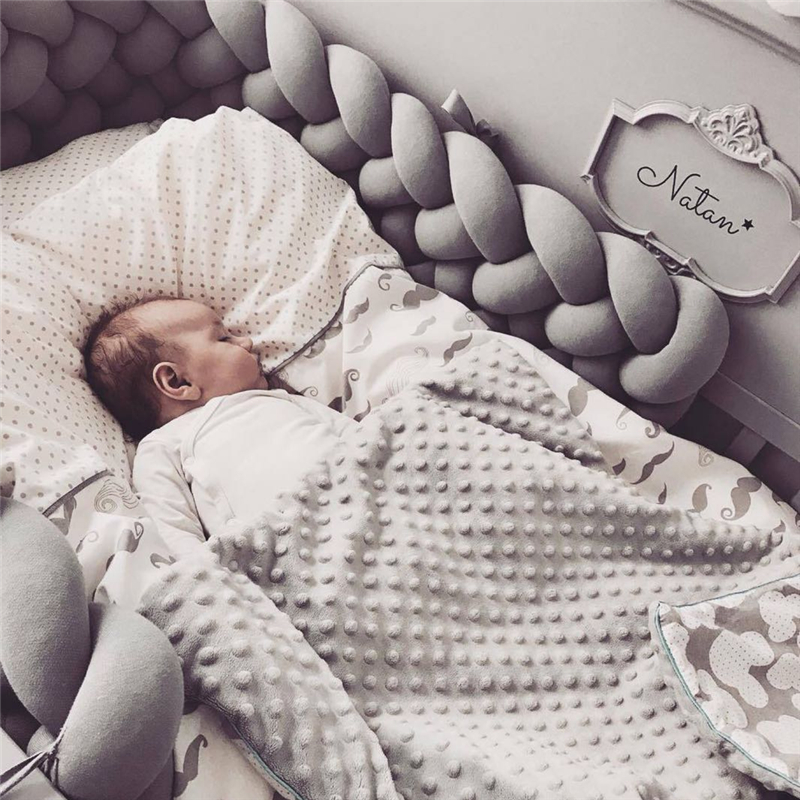 200cm Baby Crib Protector Knot Baby Bed Bumper Weaving