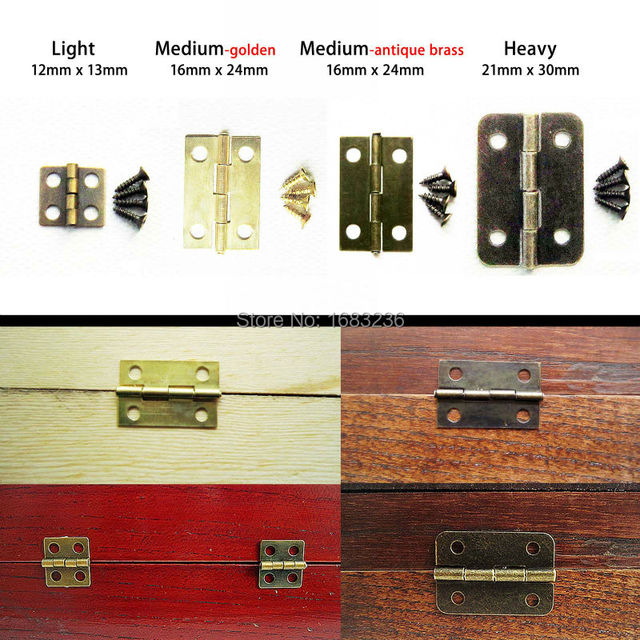 12X Antique Brass Vintage Jewelry Gift Wine Wood Wooden Box Hinge With Screws Light 13x12mm/ Medium Li16x24mm/ Heavy 21X30mm
