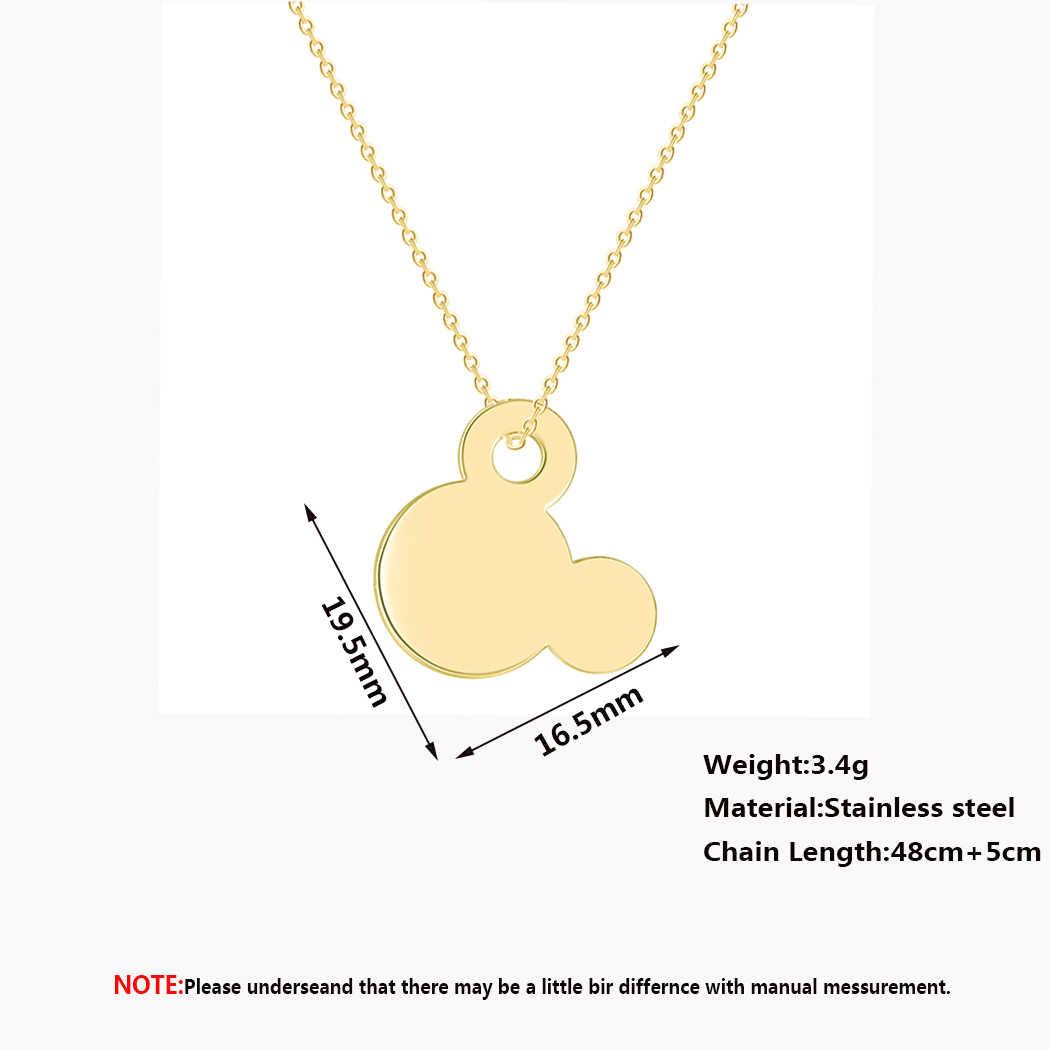 Cxwind Stainless Steel Mickey Liontin Kalung untuk Wanita Gadis Kalung Kartun Hewan Mouse Kepala Rantai Kalung Perhiasan Collares