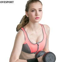 New Fashion Bra Women Leisure Bras Shockproof Zipped Padded Fitness Workout Comfortable Bra Clothes Tank Top