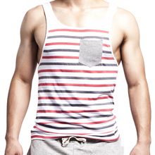 2015 Summer New Fashion Men's Stripes Tank Top Muscle Sleeveless T-Shirt Cotton Men's Tanks Underwear M~XL Free transport