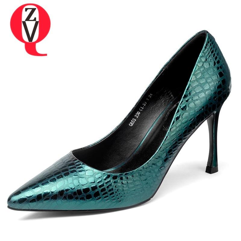 Moda Nueva Colors Mujer en Sexy Genuino Tacones La Mujeres De Colores Zapatos Black green Cuero Primavera gun 2019 Zvq Las Bombas Slip Tres Altos Superficial vq80wUzg