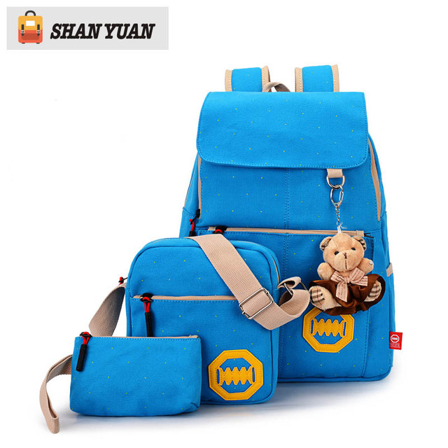 1851a28b5218 3 PCS Set Stylish Canvas Printing Backpack Women School Bags for Teenage  Girls Cute Bookbags Laptop Backpacks Female Bagpack