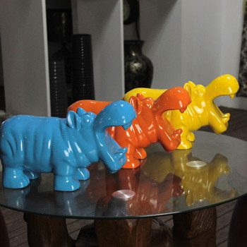 Blue Hippo Bank Shaped Piggy Bank Resin Coin Bank Money Box Figurines Saving Money Home Decor New Year Gift For Kids