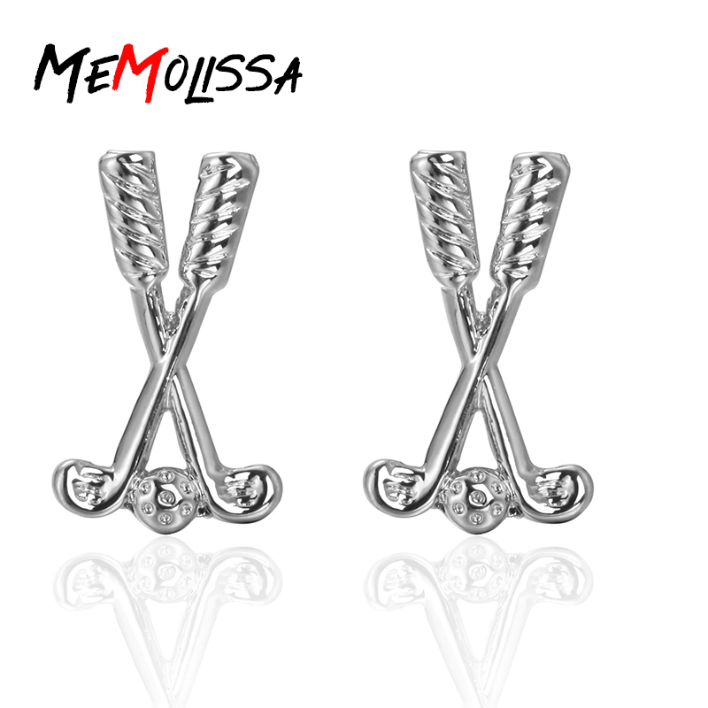 MeMolissa Hot Sale Fashion Brand Silver <font><b>Golf</b></font> Club Classic French <font><b>cufflinks</b></font> shirts High Quality cuff links For friends gifts image