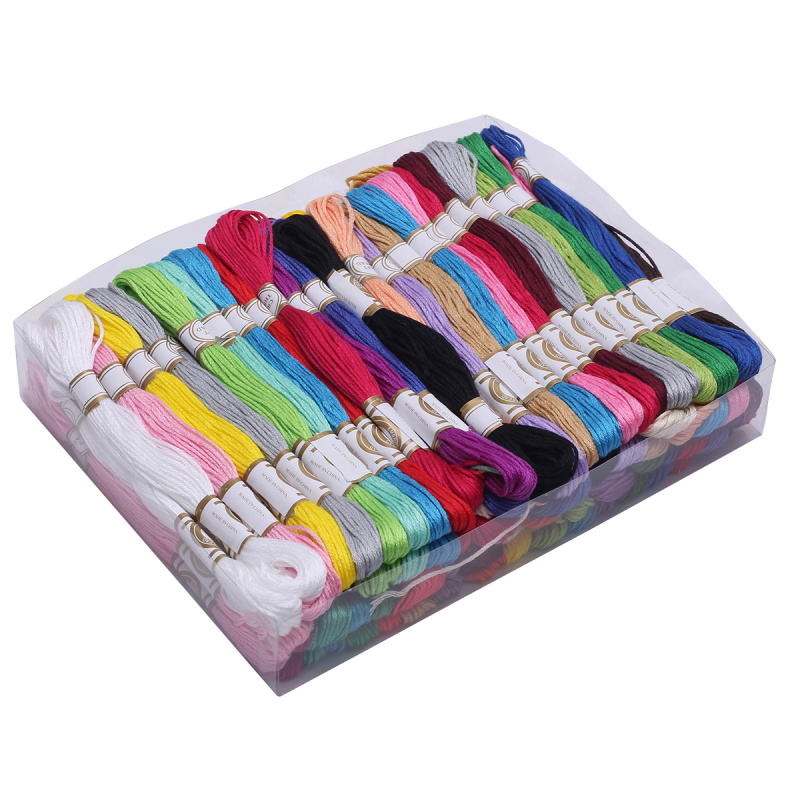 100pcs Multi-Color DIY Cross Stitch Cotton Blended Embroidery Thread Floss Home Sewing Crafts