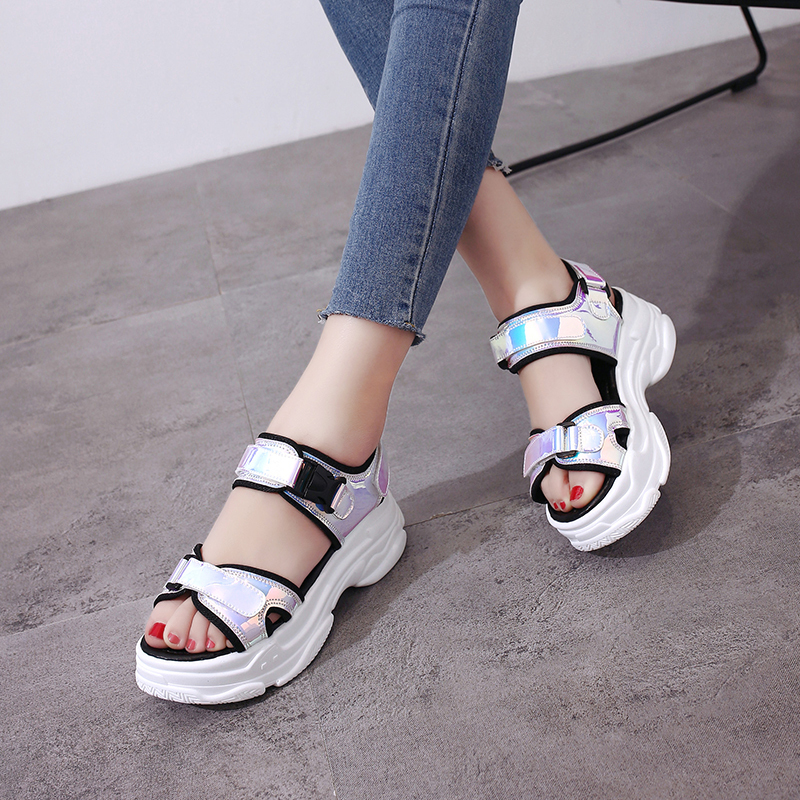 HTB1cB.pM3HqK1RjSZJnq6zNLpXaj Sexy Open toed Women Sport Sandals Wedge Hollow Out Women Sandals Outdoor Cool Platform Shoes Women Beach Summer Shoes 2019 New