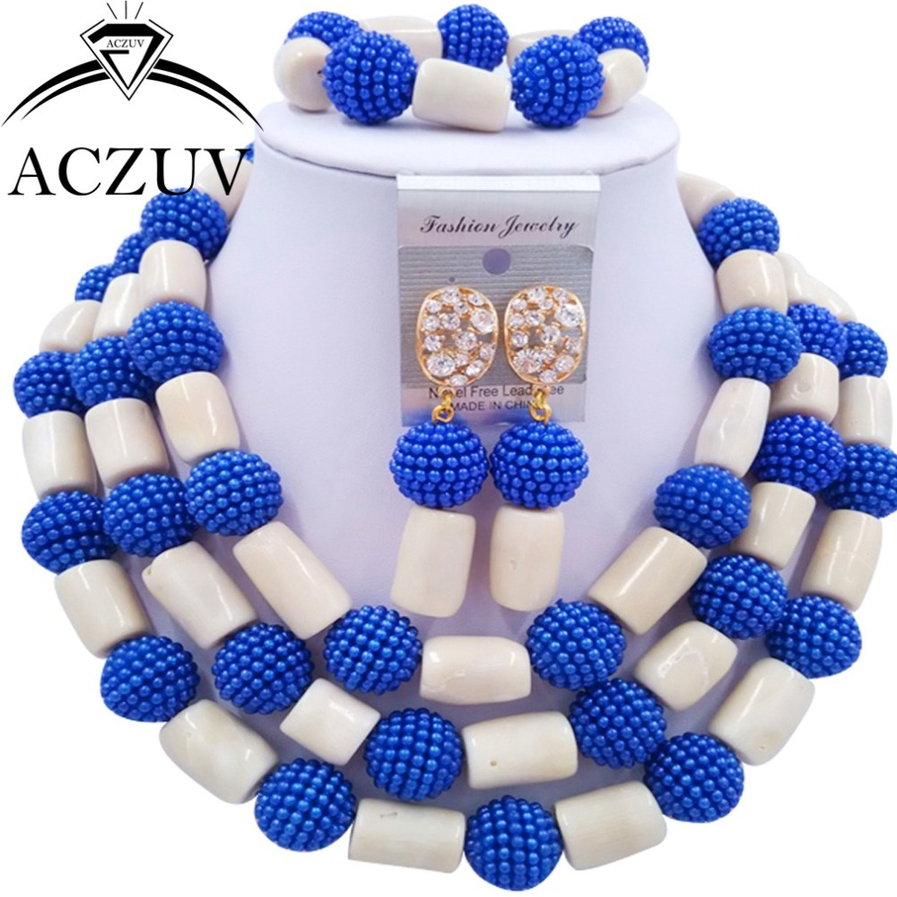 Brand Aczuv Royal Blue Imitation Pearl And Ivory White Nigerian African  Coral Beads Jewelry Set Dubai