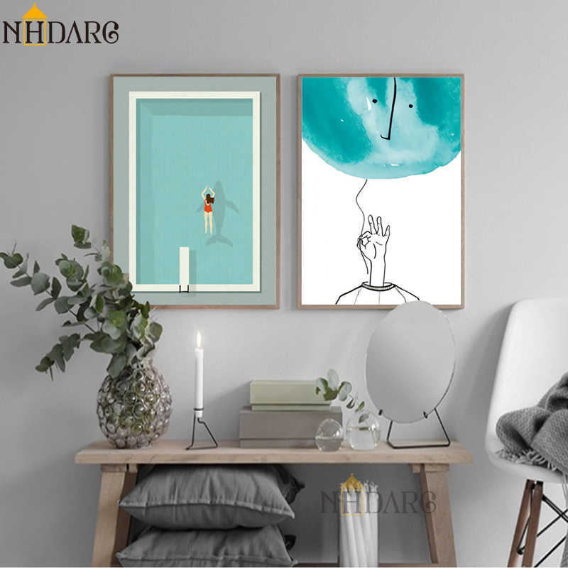 Modern Simple Minimalist Swimming Pool Canvas Print Painting Poster Art Wall Pictures for Living Room Home Decor Wall Decor