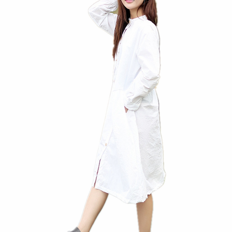 9b660693d61 Mori Girl Long Sleeve Shirt Dress 100% Cotton Stand Collar Button Down Midi  Dress Plus Size Long White Dress With Pockets-in Dresses from Women s  Clothing ...