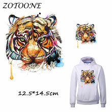 ZOTOONE Iron Patches for Clothing Watercolor Tiger Beaded Applique Clothes TShirt Heat Transfer DIY Accessory Decoration