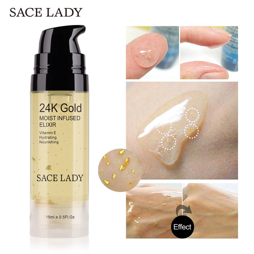 SACE LADY 24k Gold Elixir Ultra Moisturizing Face Essential Oil Makeup Foundation Base Primer Anti-aging Make Up Brand Cosmetic primer makeup base liquid farsali 24k rose gold infused elixir skin face care essential oil anti aging makeup base 5012