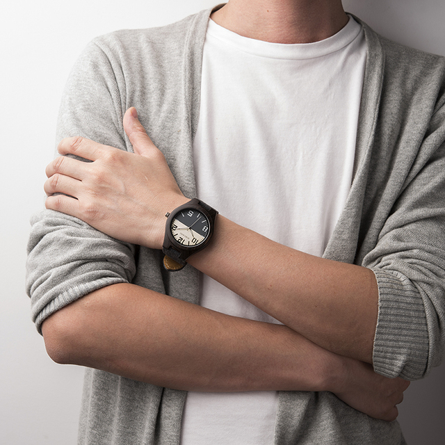 Watch: Black & White Face Wooden Watch