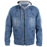 Autumn Winter Men Clothing Hooded Denim Jacket Outdoors Casual Jeans Coats Outerwear Blue