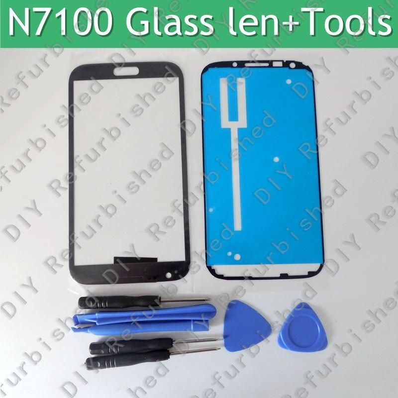imágenes para Oem nuevo frente lente de cristal del lcd screen out cubierta para samsung note 2 n7100 gt 7100 + herramientas gratuitas de reparación