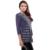 BFDADI 2016 de Forma Original Casual Camisa Das Mulheres o-pescoço Tricô Triangle Shawl Collar Tops Stripe costura T-shirt Plus Size 3348