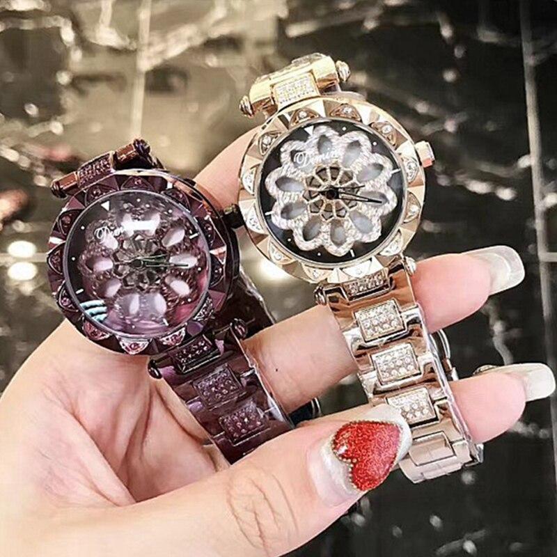 Mode luxe femmes montres rotation cadran diamant dames robe Quartz montre-bracelet en acier inoxydable montres en or livraison directe cadeaux
