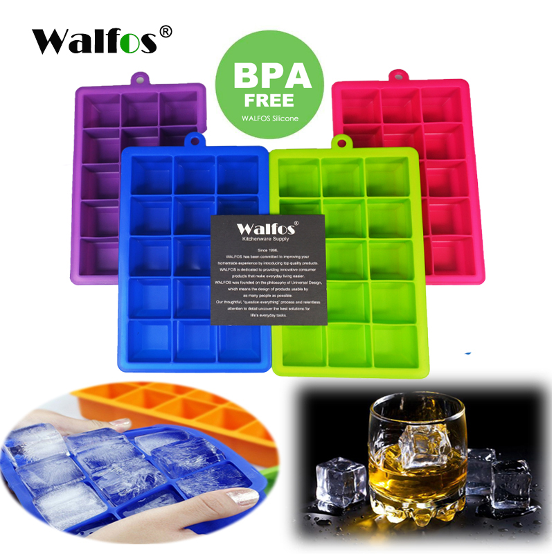 WALFOS 100% сілікон якасці ежы 1 PC Навізна 15 Square Soft Silicone Ice Cube Tray Ice Maker Жэле пудынг Mold лёд цвіль