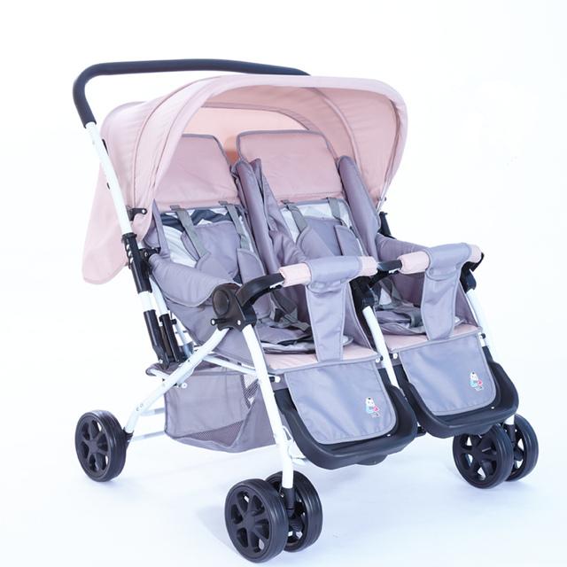 Carrinho de Bebê Gêmeos Carrinho De Bebê portátil Dobrável Peso Leve Europeia Assento Duplo Carrinho De Bebê De Viagens para Recém-nascidos Frete Grátis