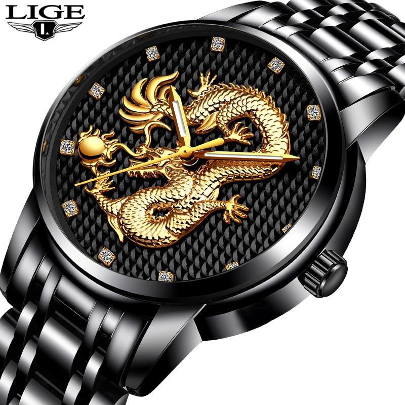 Gold Dragon Sculpture Quartz Full Steel Waterproof Wristwatch