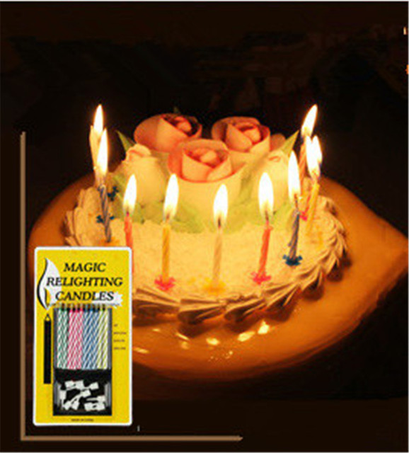 10pcs Lot High Quality Colorful Birthday Cake Candles With Flames Candle Magic Relighting