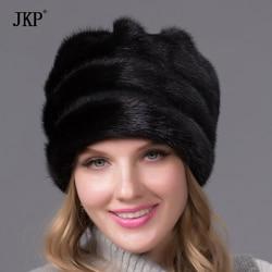 Меховая шапка из натуральной норки для женщин, зимняя полноразмерная меховая шапка с цветком, топ 2020, Новое поступление, хорошее качество, м...