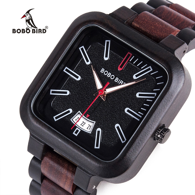 BOBO BIRD Men Simple Watch Handmade Wooden Classic Black and Red Quartz Watches with Date Display horloges mannen