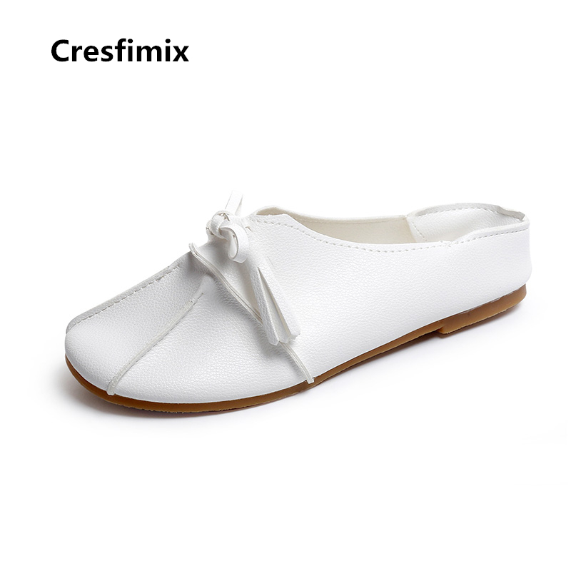 Cresfimix zapatos de mujer women cute soft pu leather lace up flat shoes female casual spring white shoes female retro shoes cresfimix women casual breathable soft shoes female cute spring