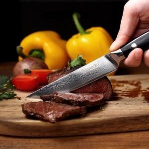 Image 5 - 2019 SUNNECKO 5 inch Steak Knife Damascus VG10 Steel 6PCS Kitchen Knives Set G10 Handle High Quality Knife Gift Box Packaging