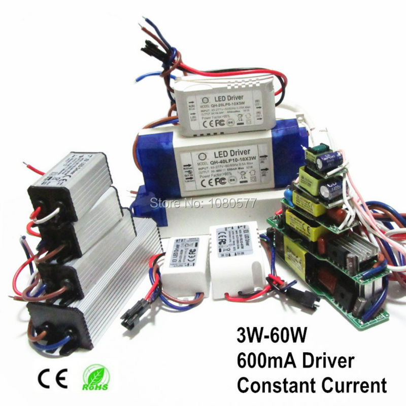 2 pcs LED Power Supply 600mA Pengemudi Lampu 3W 6W 9W 12W 15W 18W 20W 21W 24W 30W 40W 50W 60W Isolasi Transformator Pencahayaan