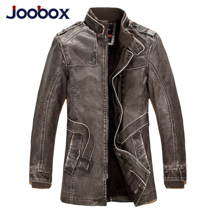 JOOBOX Leather Jacket Men Autumn Winter Adjustable Waist England Style Motorcycle Leather Jacket Men Long Windbreaker Coat