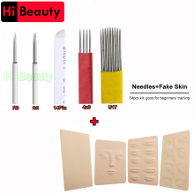 R3 R5 14Pin 4X3 Cluster Double offers U17 Round Needles Blades Blank Eye Lips Face Fake Practice Skins For Learners Makeup Tattoo