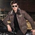 Jaqueta de couro real da pele de porco dos homens Aviador da força aérea jaquetas Motocicleta Couro Genuíno homens jaqueta de couro casaco bomber jacket