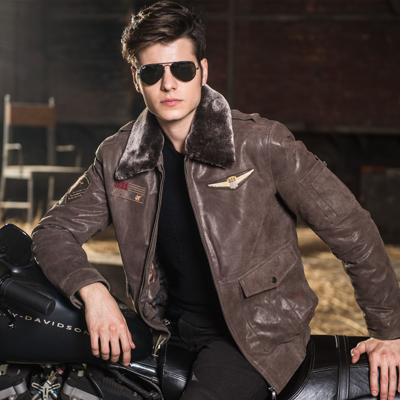 Men's real leather jacket pigskin air force jackets Motorcycle ...