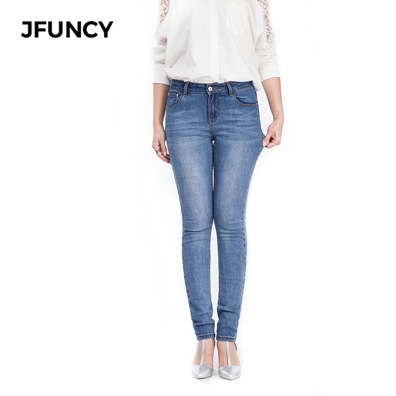 JFUNCY Plus Size High Waist Skinny Jeans For Women 2019 New Casual Elastic Pencil Pants Female Slim Fit Bodycon Denim Trousers