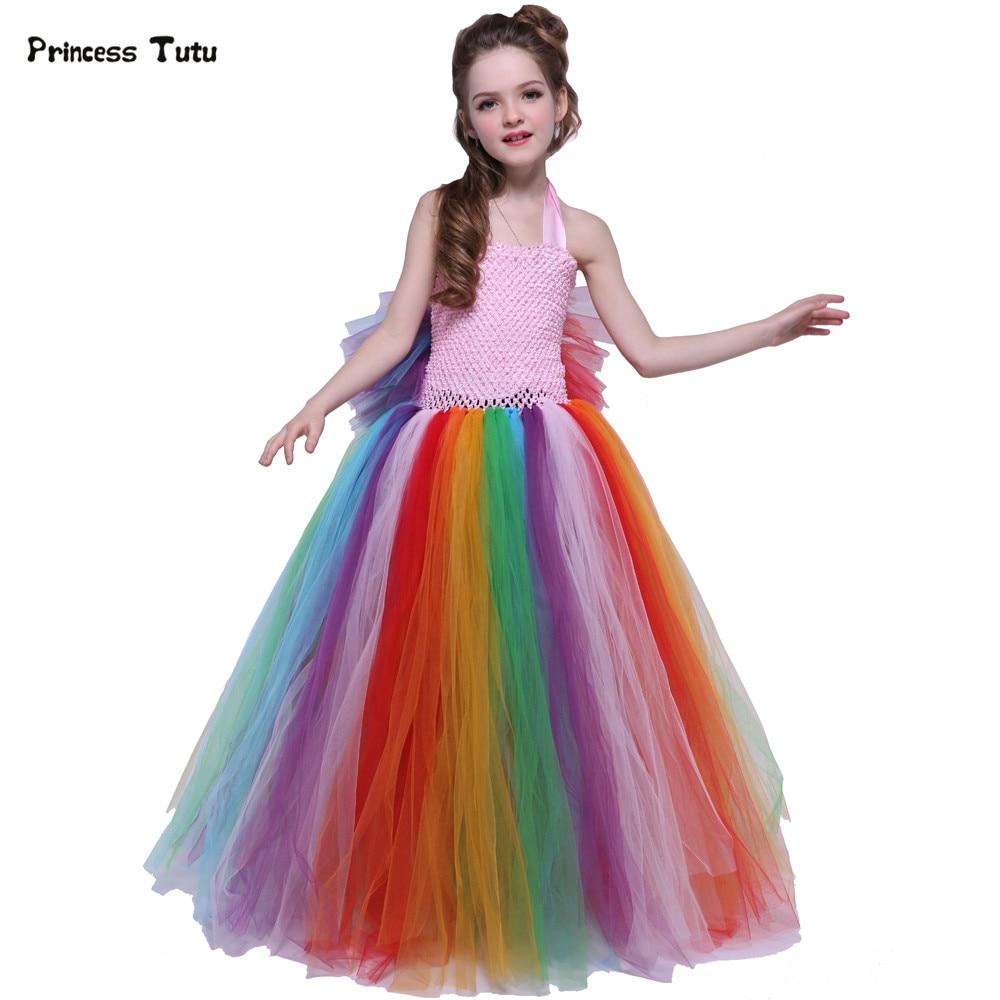 Colorful Tulle Wings Rainbow Tutu Dress Girls Birthday Party Princess Dress Halloween Costume Kids Cosplay Pony Girls Dress UP бумажник rainbow wings to fly a 08 2015