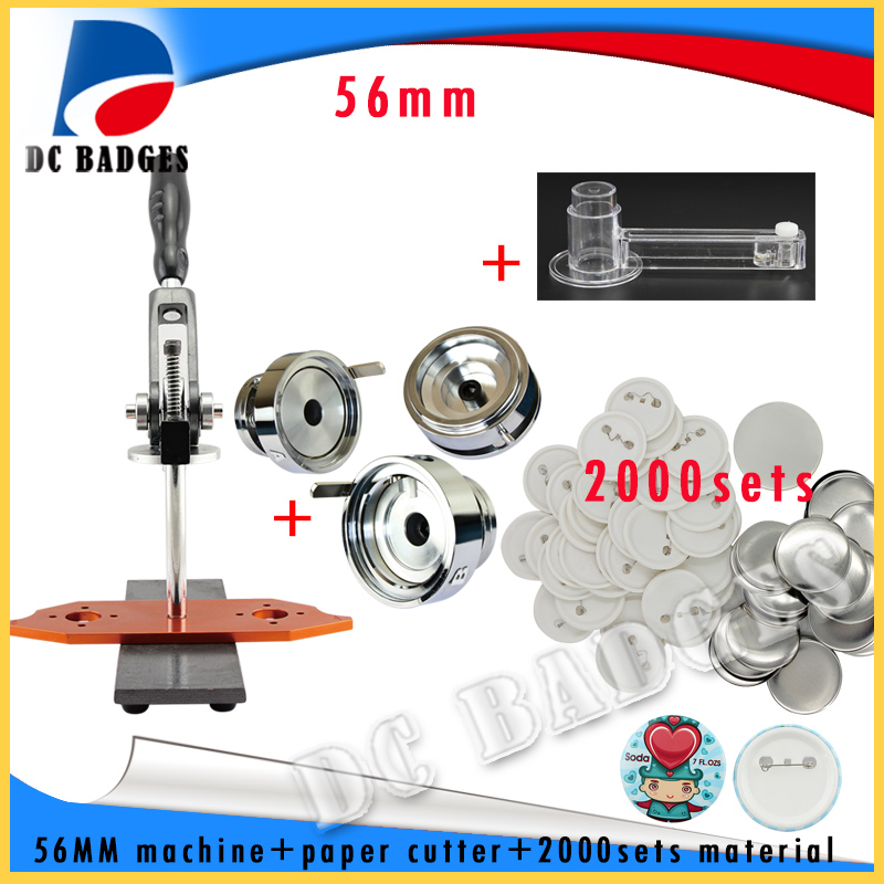 2017 New High Quality Metal Badge Press Machine 56MM +Circle Cutter+2000 Sets Plastic Pinback Badge material p80 panasonic super high cost complete air cutter torches torch head body straigh machine arc starting 12foot