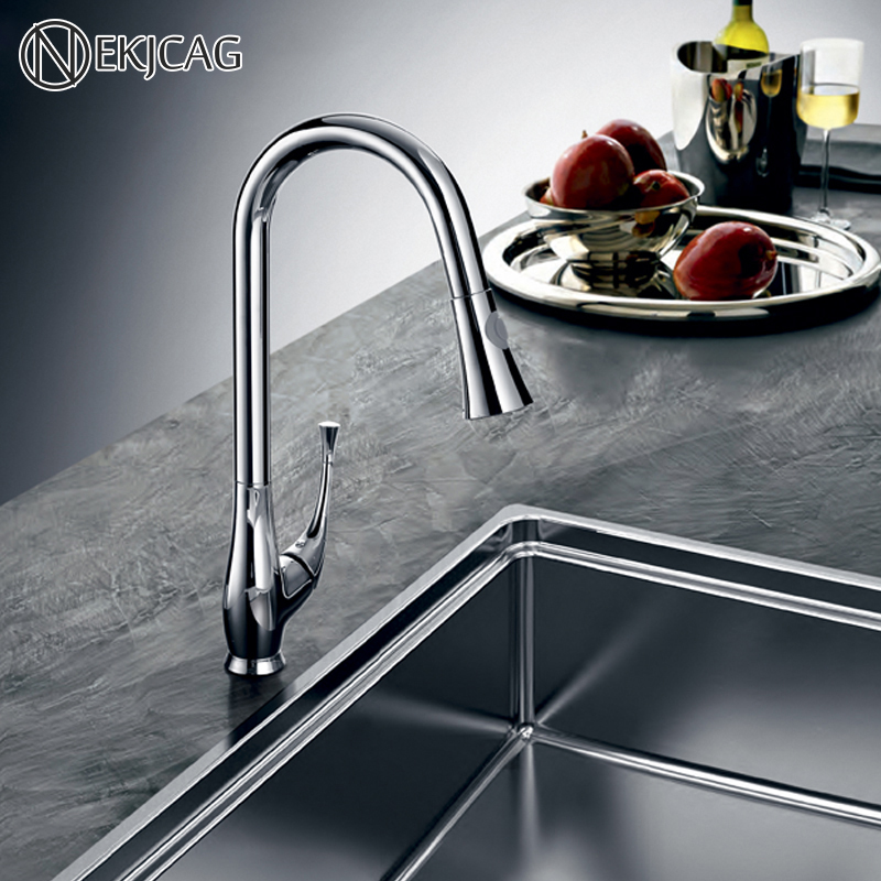 Kitchen Faucet Creative Porcelain Silver Single Handle Hand-Out Kitchen Faucet Single Hole Handle Rotating 360 Degree Faucet