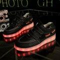 Moda 7 Colores Los Niños Zapatillas de Deporte de Los Niños de Carga USB Luminoso Iluminado Zapatillas Boy/Niñas Coloridas luces LED Zapatos de Los Niños
