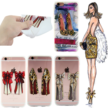 i6 Coque Colorful Phone Cases For i Phone 6 Capinha Silicone Butterfly Clear High Heel Shoes Coque For iPhone 6S Case Cover Capa