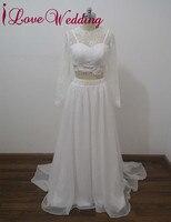 ILoveWedding A Line Wedding Dresses Formal Two Piece Chiffon Lace Appliques Long Sleeve Floor Length Bridal
