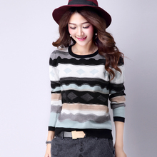 M-XL Striped Sweater Short Fashion Knitted Base Shirt Long Sleeve Stitching O Neck Women Sweaters And Pullovers