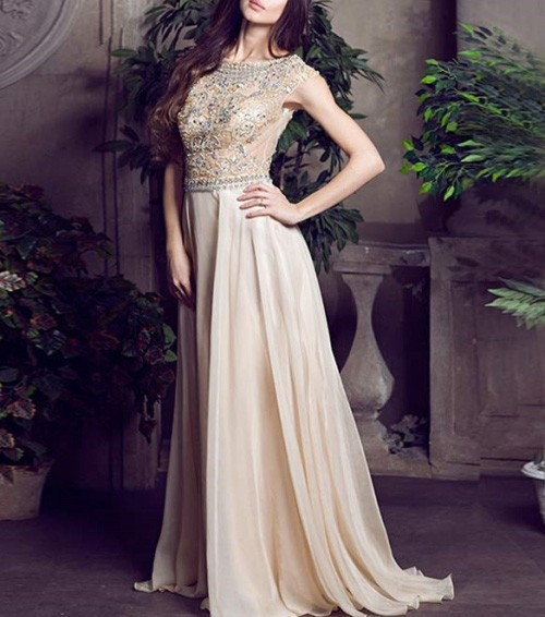 Nude Color Tulle Chiffon Fabric Sexy See Through Beading Luxury Crystal  Evening Dress Formal Prom Dresses-in Evening Dresses from Weddings   Events  on ... e6a42246ce04